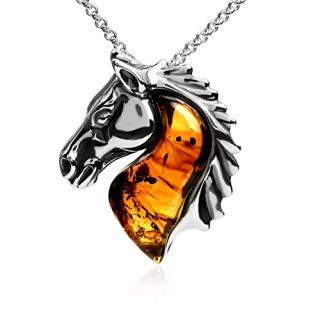 Ian and Valeri Co. Amber Sterling Silver Horse Pendant Necklace