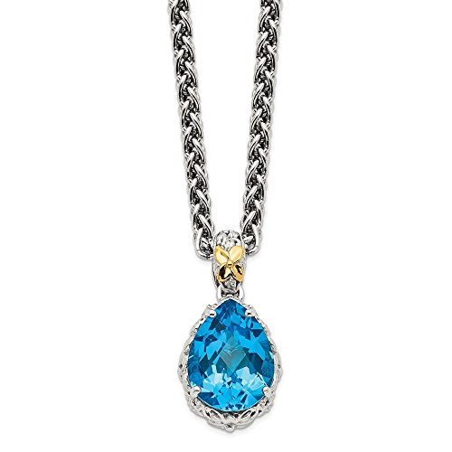 Sterling Silver 14k Blue Topaz Chain Necklace Pendant