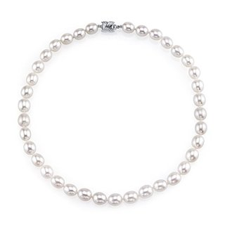 THE PEARL SOURCE 10-11mm AAA Quality Oval White Freshwater