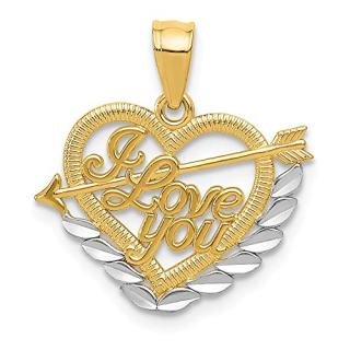 14k Yellow Gold I Love You Heart Pendant Charm Necklace