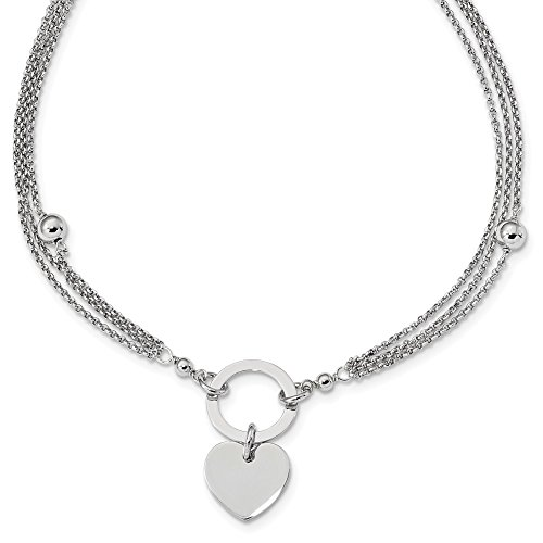 Sterling Silver Beaded 3 Strand Heart 1 Inch Extension Chain Necklace