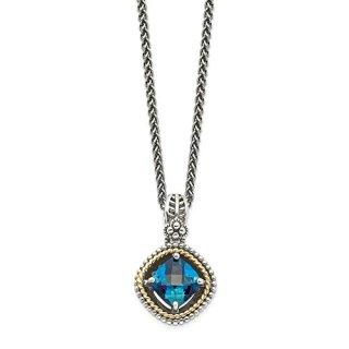 Sterling Silver 14k London Blue Topaz Chain Necklace Pendant