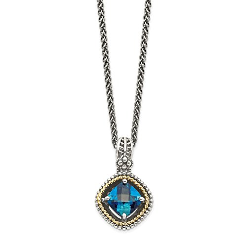 Sterling Silver 14k London Blue Topaz Chain Necklace Pendant
