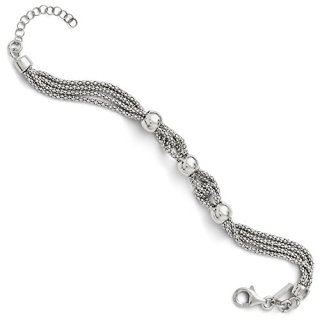 Sterling Silver 4 Strand Beaded Bracelet 1 Inch Extension 7.5 Chain