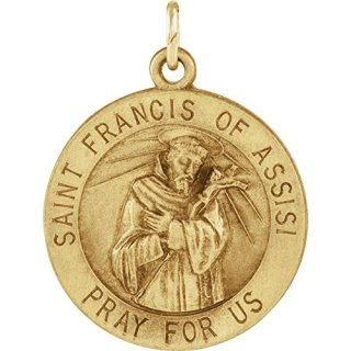 Jewels By Lux 14K Yellow Gold 18mm Round St. Francis