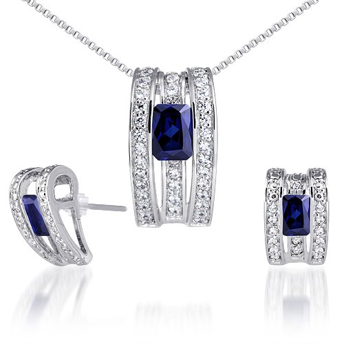 Created Sapphire Pendant Earrings Necklace Sterling Silver