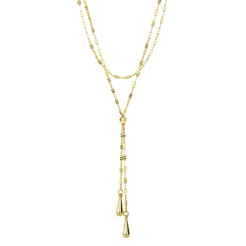14k Yellow Gold Double Layer Fancy Link Chain Teardrop Lariat Y Necklace