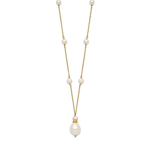 14k Yellow Gold 11mm Teardrop 6mm Rice White Freshwater Pearl Chain
