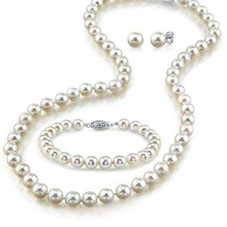 THE PEARL SOURCE 14K Gold 6.5-7mm Round White Akoya Cultured Pearl
