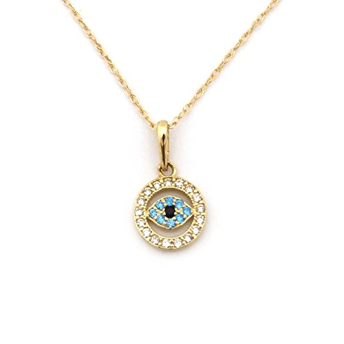 Beauniq 14k Yellow Gold Cubic Zirconia and Simulated Blue Topaz