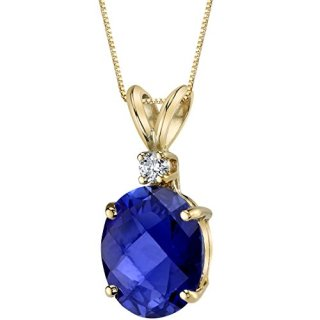 14 Karat Yellow Gold Oval Shape 3.50 Carats Created Blue Sapphire
