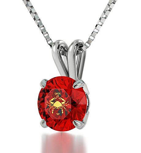 Nano Jewelry Sterling Silver Zodiac Pendant Cancer Necklace 24k Gold