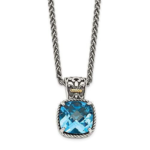 Sterling Silver 14k Blue Topaz Chain Necklace Pendant Charm