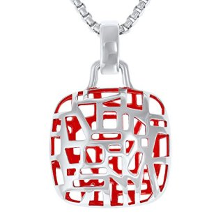 Rhodium Plated, Sterling Silver Square Pendant Necklace, Ruby Red