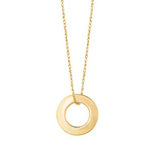 Beauniq 14k Yellow Gold Open Circle Pendant Necklace