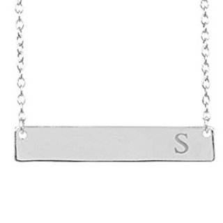 Sterling Silver Initial Bar Necklace,Sterling Silver, 16-18 Inches