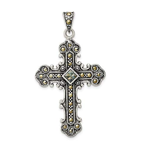 Sterling Silver Marcasite Cross Religious Pendant Charm Necklace
