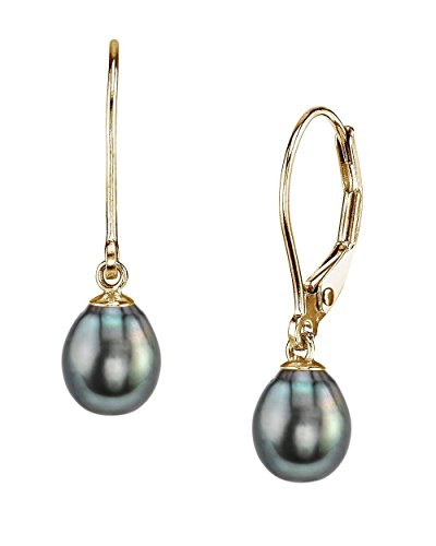 THE PEARL SOURCE 14K Gold 9-10mm AAAA Quality Drop Black