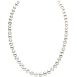 THE PEARL SOURCE 14K Gold 6.5-7.0mm AAAA Quality Round White Freshwater