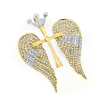 Luxurman 14K Unique Angel Wings Natural 0.4 Ctw Diamond Cross Pendant