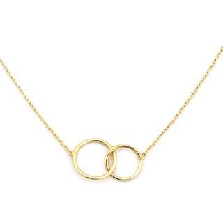 14k Yellow Gold Tiny Delicate Interlocking Circles