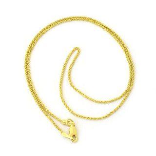 Beauniq 14k Yellow Gold 1.2mm Diamond-Cut Wheat Chain Necklace