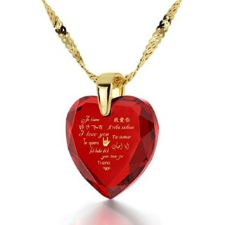 Nano Jewelry Gold Plated Heart Pendant I Love You Necklace