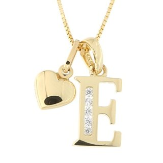 14k Yellow Gold Cubic Zirconia Initial Pendant with Heart Charm Necklace