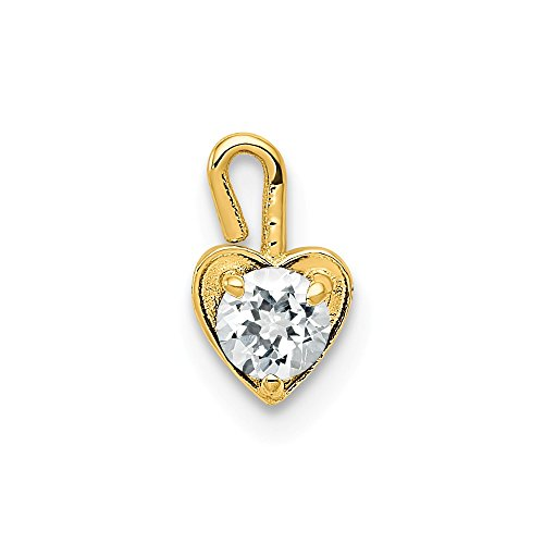 14k Yellow Gold April Synthetic Birthstone Heart Pendant Charm