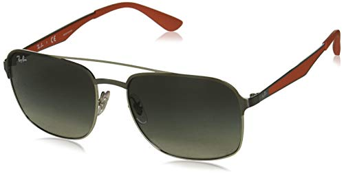 Ray-Ban Square Metal Sunglasses, Gunmetal on Silver/Grey Gradient