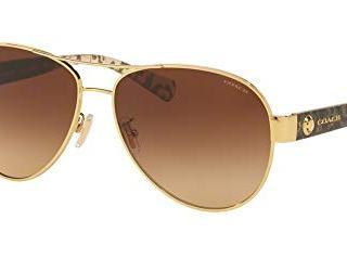 Coach Womens Sunglasses Gold/Brown Metal - Non-Polarized - 58mm
