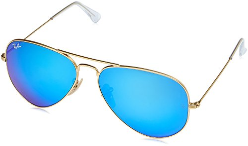 Ray-Ban Aviator Flash Mirrored Sunglasses, Matte Gold/Blue Flash