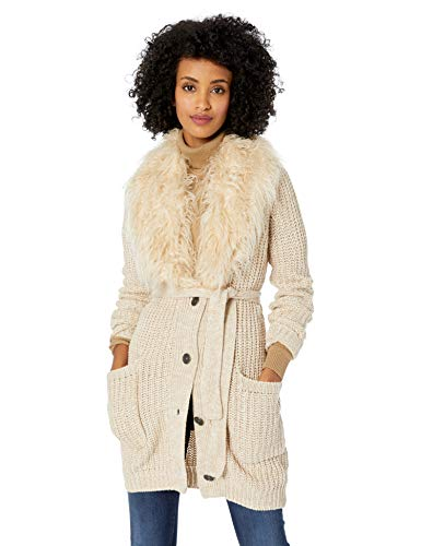 Jessica Simpson Women's Annie Faux Fur Collar Cardigan Sweater
