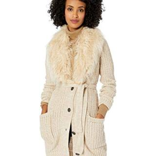 Jessica Simpson Women's Annie Faux Fur Collar Cardigan Sweater