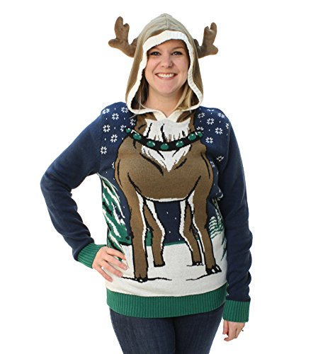Ugly Christmas Sweater Loose Fit Women's Hooded Reindeer Sweater