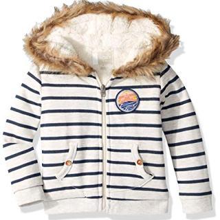 ROXY Girls' Little Slumber Party Sherpa Lined Zip Up Hooded Fleece Top