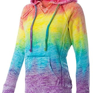 Koloa Surf Co.(tm) Womens Rainbow Stripe V-Neck Burnout Hoodies