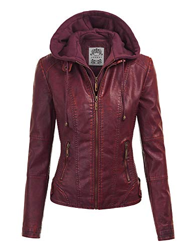 Lock and Love Womens Faux Leather Quilted Motorcycle Jacket