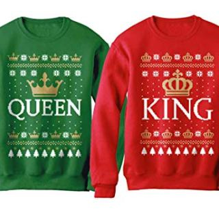 King & Queen Matching His & Hers Crown Ugly Christmas Couples Set
