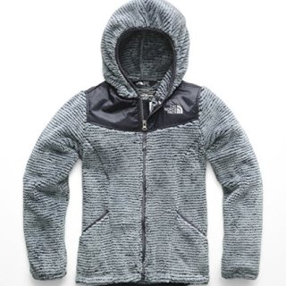 The North Face Girls' OSO Hoodie, Mid Grey & Periscope Grey Stripe
