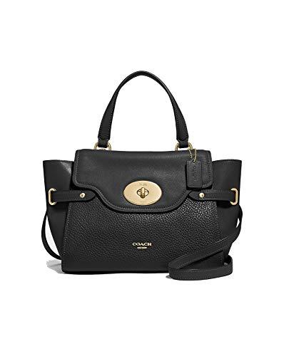 Coach Leather Blake Flap Carryall Shoulder Bag Handbag (Black)