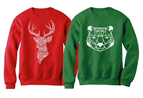 Christmas Bear and Deer Silhouette Christmas Sweatshirt Outfit Set