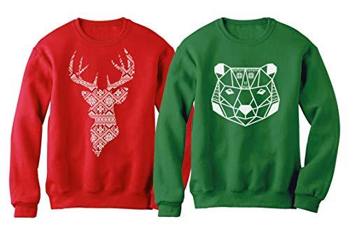Christmas Bear and Deer Silhouette Christmas Sweatshirt Outfit Set