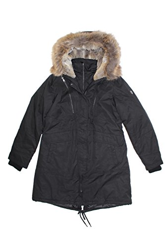 1 Madison Expedition Women's Faux Fur Hooded Parka Jacket (Black, Large)