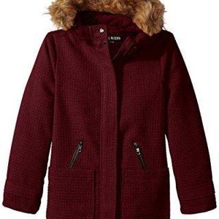 Steve Madden Little Girls Wool Look Basket Weave Hooded Winter Jacket Coat