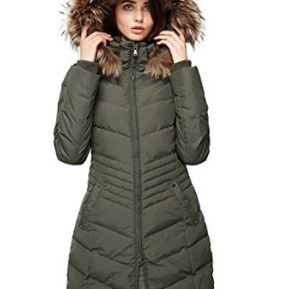 Escalier Women's Down Jacket Winter Long Parka Coat with Raccoon Fur Hooded Army Green L