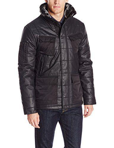 Calvin Klein Jeans Men's Coated Puffer Jacket, Black