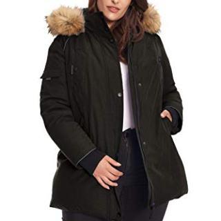 Alpine North Size Womens Vegan Down Parka Winter Jacket Plus, Black, 3X