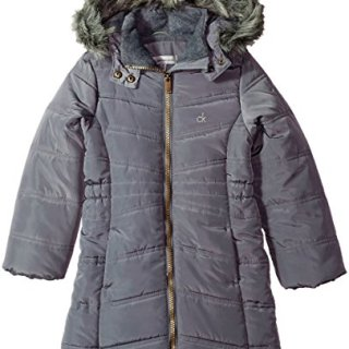 Calvin Klein Big Girls' Long Puffer Jacket, Dark Grey