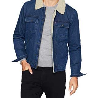 Levi's Men's Denim Quilted Puffer Vest, Dark wash